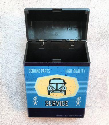 VW-Zigarettenbox-Service-Käfer-blau-hellblau-Detail-2