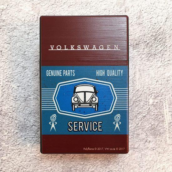 VW-Zigarettenbox-Service-Käfer-braun-blau-Detail-1