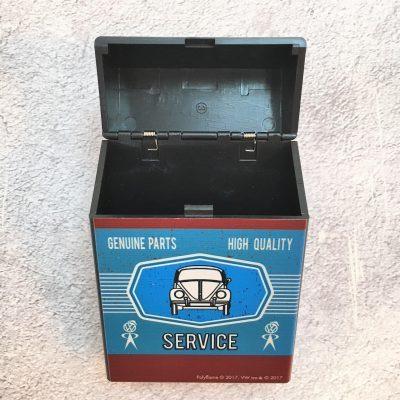 VW-Zigarettenbox-Service-Käfer-braun-blau-Detail-2