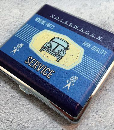 VW-Zigarettenetui-Service-Käfer-blau-hellblau