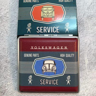 VW-Zigarettenetui-Service-Käfer-rot-grau
